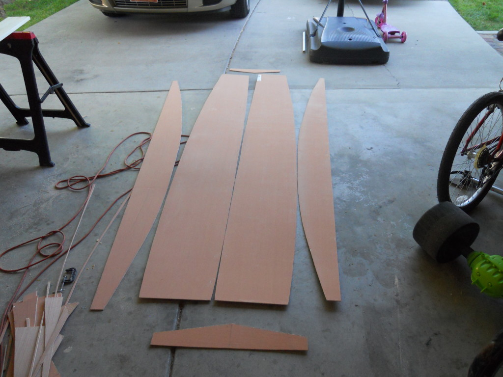 Here's the sheet of plywood that will become the hull cut into the various panels.