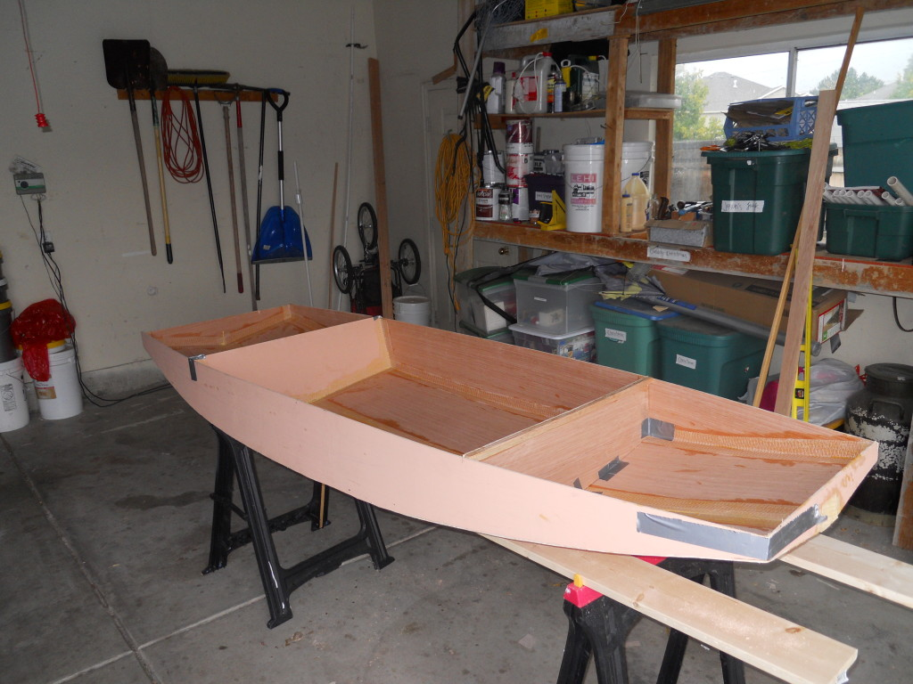 Bulkheads all taped in. This is really starting to look like a boat.