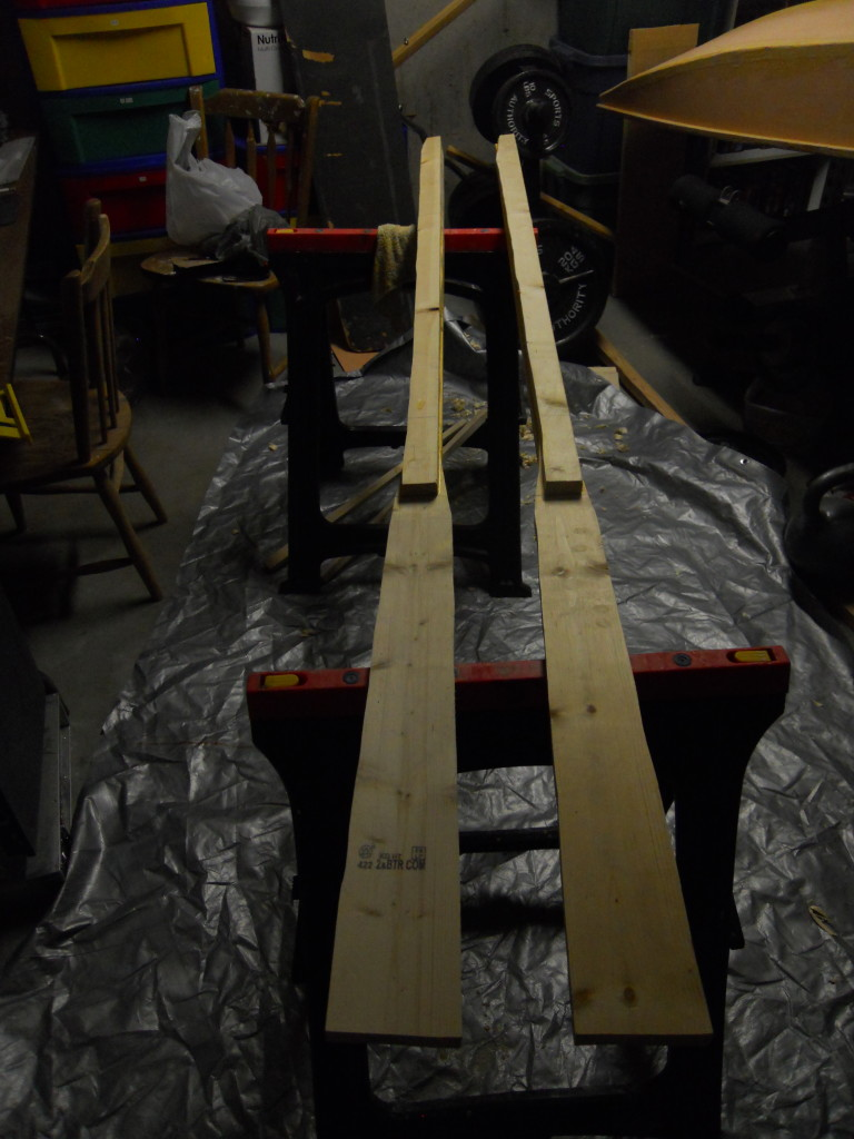 Both oars all glued up and ready for shaping.