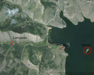 Overview of Scofield Reservoir with the approximate locations of our campground, Cort's cabin, and the island where most of our nautical adventures took plance.