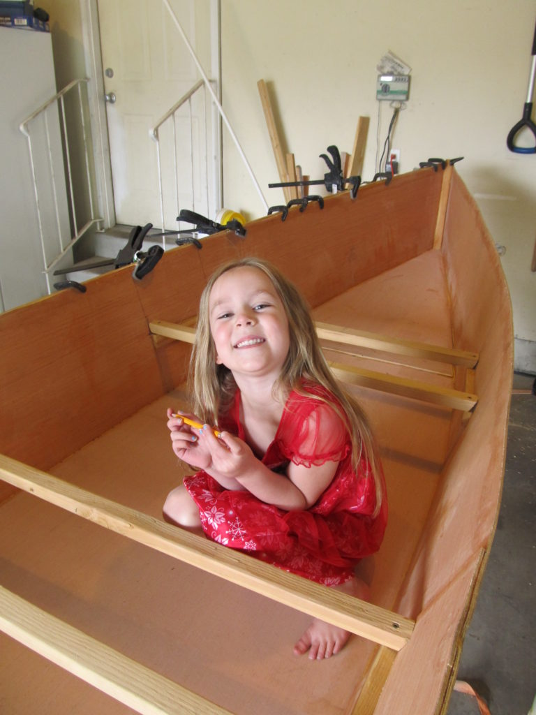 Stella helped with the gunwales as well. Then she wanted to make sure that I took a picture of her.